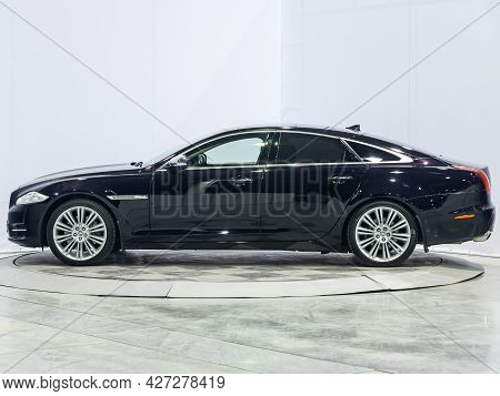 Novosibirsk, Russia - July 07, 2021:   Jaguar Xj , Side View. New Expensive Car On A Parking
