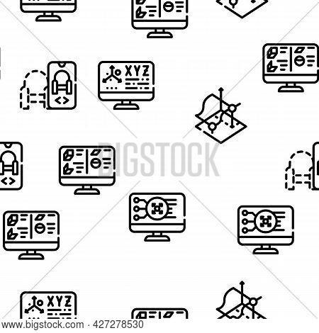 Vr Designer Occupation Vector Seamless Pattern Thin Line Illustration