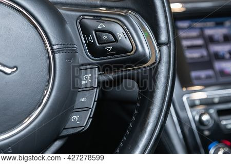 Novosibirsk, Russia - July 07, 2021:   Jaguar Xj , Black Steering Wheel With Multifunction Buttons F
