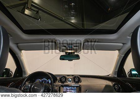 Novosibirsk, Russia - July 07, 2021:   Jaguar Xj , Car Interior. Rear View Of The Windshield, Hatch