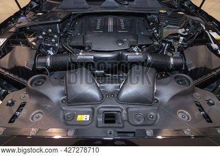 Novosibirsk, Russia - July 07, 2021:   Jaguar Xj , Close Up Detail Of New Car Engine