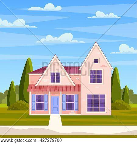 Retro Style Building. Cartoon Apartment House On Nature Landscape. Suburban House, Residential Cotta