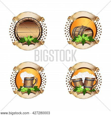 Set Of Beer Labels With Vintage Ribbons In Realistic Style. A Cask Of Beer, A Glass And A Bottle Of