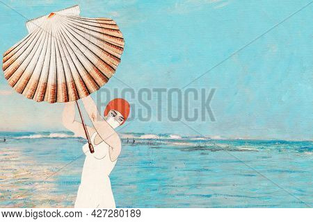 Vintage woman holding clam shell background, remixed from public domain artworks