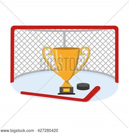 Hockey Goal With A Winning Cup, Stick And Puck, Color Vector Illustration In The Cartoon Style.