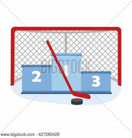 Hockey Goal With A Pedestal, Stick And Puck, Color Vector Illustration In The Cartoon Style.
