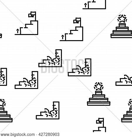 Stair And Achievement Vector Seamless Pattern Thin Line Illustration