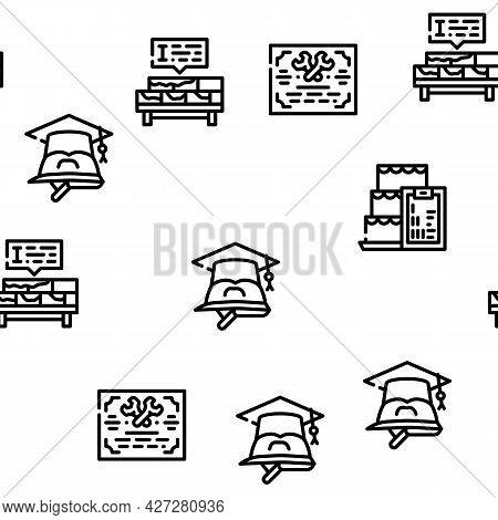 Vocational School Vector Seamless Pattern Thin Line Illustration