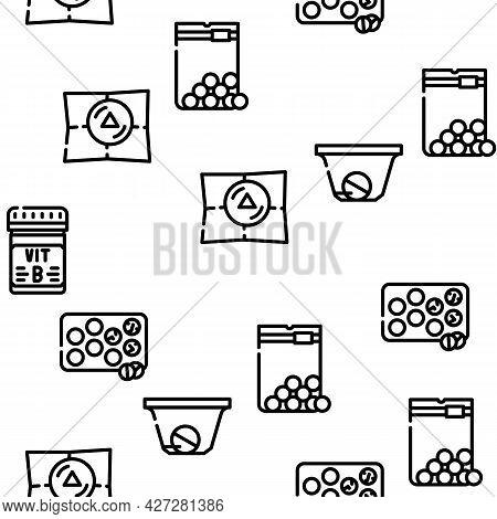 Pills Medicaments Vector Seamless Pattern Thin Line Illustration