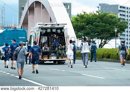 Fuji City, Shizuoka-ken, Japan - June 24, 2021: Tokyo 2020 Olympic Torch Relay In Fuji City. Team Of