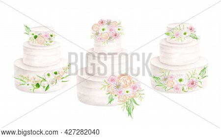 Watercolor Wedding Cakes With Flowers Set. Hand Drawn Tiered White Cream Desserts Isolated On White.