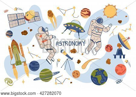 Astronomy Concept Isolated Elements Set. Collection Of Astronauts In Outer Space, Solar System, Plan