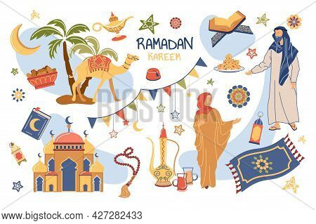 Ramadan Kareem Concept Isolated Elements Set. Collection Of Muslims Celebrate Holiday, Mosque, Quran