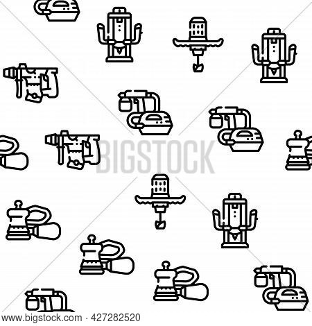 Tools For Building Vector Seamless Pattern Thin Line Illustration