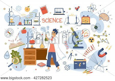 Science Concept Isolated Elements Set. Collection Of Scientist Makes Chemical Experiments In Laborat