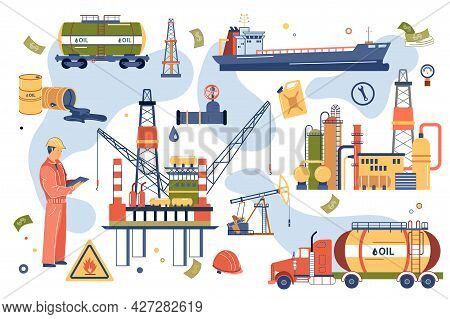 Oil Industry Concept Isolated Elements Set. Collection Of Male Worker, Extraction And Storage Of Pet