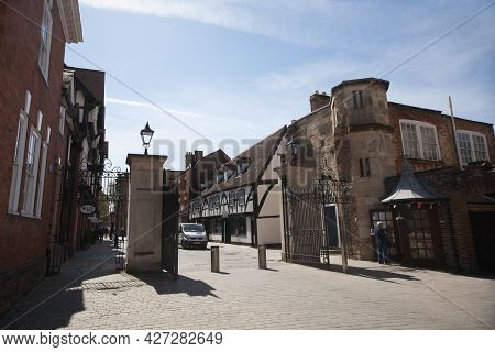 Views Of College Street And The Entrance To Gloucester Cathedral In Gloucester In The United Kingdom