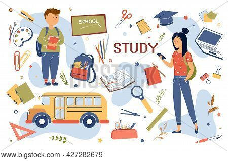 Study Concept Isolated Elements Set. Collection Of Schoolchildren Teenagers, School Bus, Textbooks,