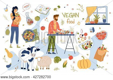 Vegan Food Concept Isolated Elements Set. Collection Of Man Cooks In Kitchen, Woman Buys Vegetables