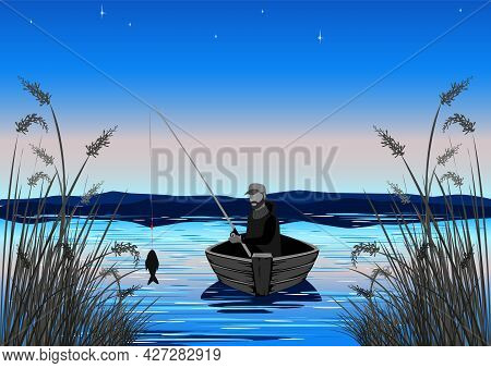 A Fisherman In A Boat Is Fishing In The Reeds. Silhouette Of A Fisherman With A Fishing Rod On The B