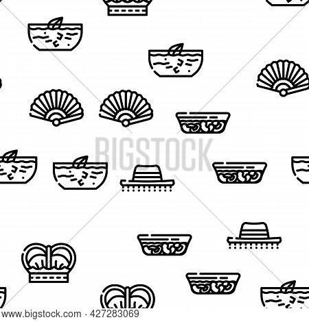 Spain Nation Heritage Vector Seamless Pattern Thin Line Illustration