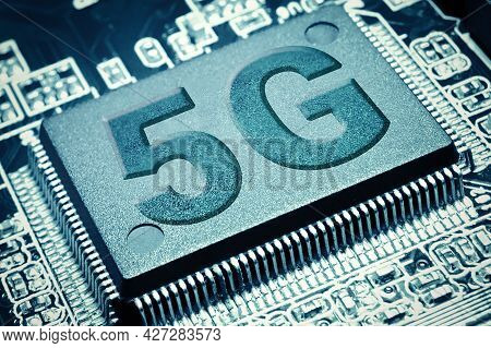 Close Up View Of 5g Central Computer Processor Cpu Blank Microchip. 5g New Generation Of Mobile Comm
