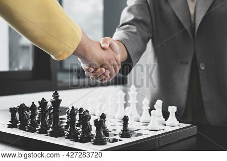 Shake Hands, Businesswomen Two People Moving Chess In Chess Competitions Demonstrate Leadership, Fol