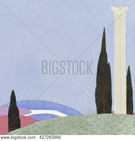 Pillar on hill background design space, remix from artworks by George Barbier