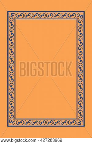 Chinese frame oriental pattern blue square in Chinese New Year theme