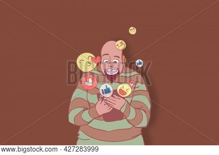 Social media impressions background in brown with cartoon man illustration