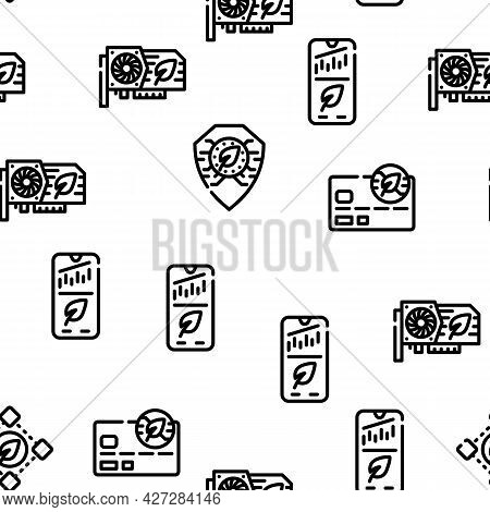 Chia Cryptocurrency Vector Seamless Pattern Thin Line Illustration