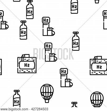 Hydrogen Energy Gas Vector Seamless Pattern Thin Line Illustration