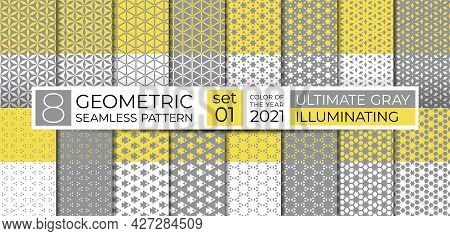 Set Of Geometric Seamless Pattern In Ultimate Gray, Illuminating Yellow. Ethnic Ornament. Repeating