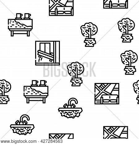 Interior Style Design Vector Seamless Pattern Thin Line Illustration
