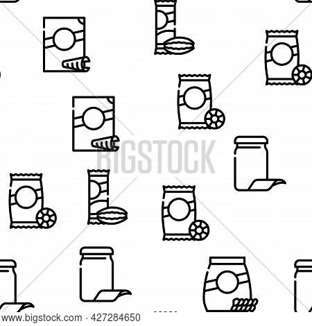 Pasta Food Package Vector Seamless Pattern Thin Line Illustration