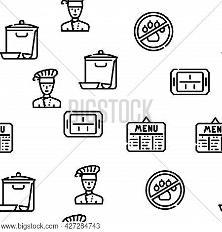 School Canteen Menu Vector Seamless Pattern Thin Line Illustration