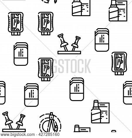 Stationery Equipment Vector Seamless Pattern Thin Line Illustration