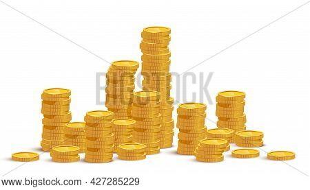 Gold Coin Stacks Mockup Vector Illustration. Cash Heap, Wealth Isolated On White Background. Banking