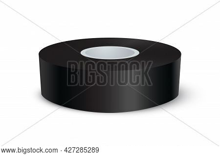 Black Adhesive Tape Roll. Sticky Duct Paper Rolled Up Vector Illustration. Realistic Plastic Packagi