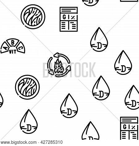 Nutrition Facts Diet Vector Seamless Pattern Thin Line Illustration