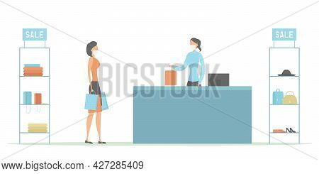 Buyer And Cashier In Protective Masks. Sale 2021. Vector Illustration.
