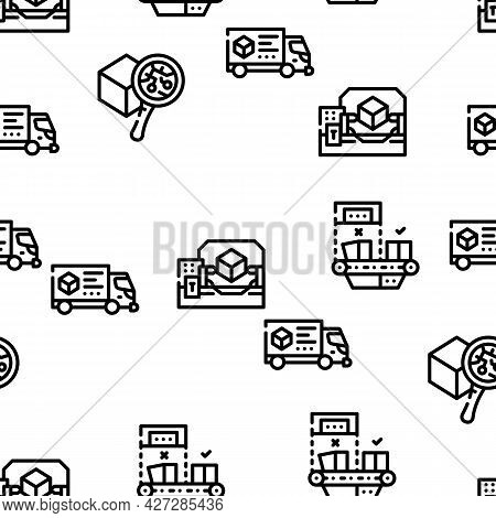 Production Business Vector Seamless Pattern Thin Line Illustration