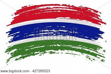 Gambia Flag In Grunge Brush Stroke, Vector