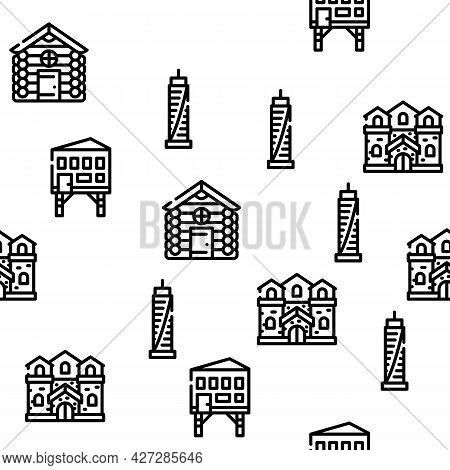 House Real Estate Vector Seamless Pattern Thin Line Illustration
