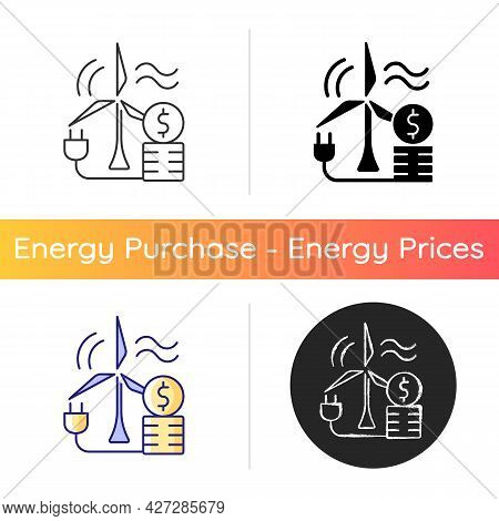 Wind Energy Price Icon. Windmill For Generating Alternative Renewable Power. Sustainable Resource Co