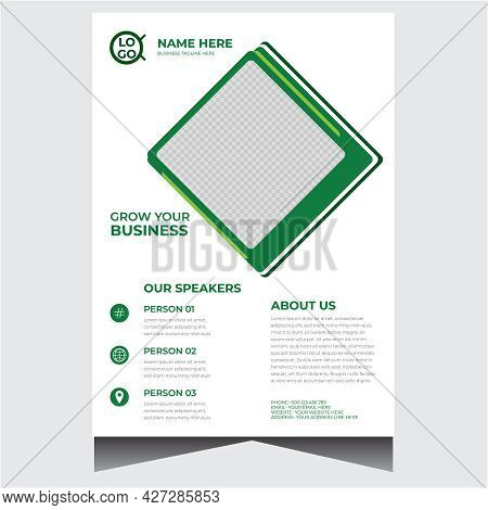 Green And White Creative Business Event Flyer Design Template