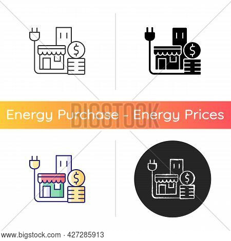 Energy Price For Commercial Customer Icon. Cost For Electrical Power For Shops And Stores. Retail In