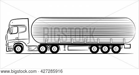 Fuel Tanker Truck Abstract Silhouette On White Background. A Hand Drawn Line Art Of A Trailer Truck