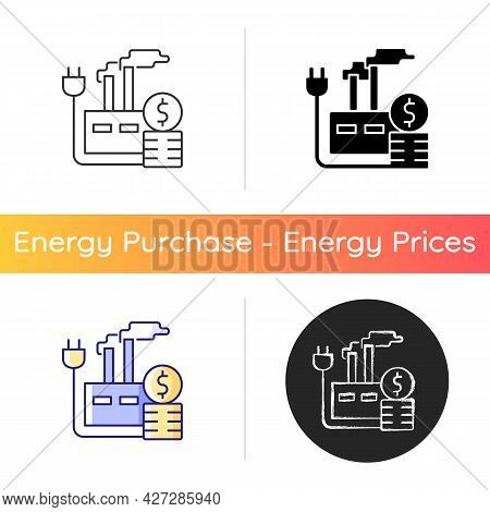 Energy Price For Industry Icon. Industrial Power Consumption Financial Cost. Electrical Resource For