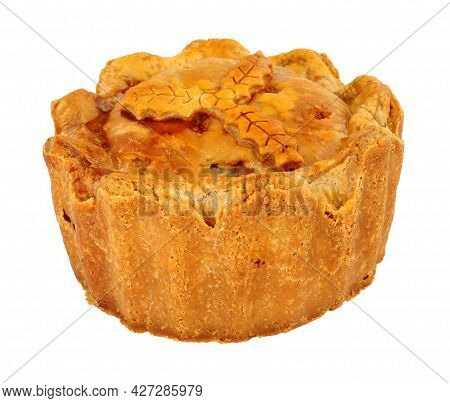 Pork Pie Baked In A Rich Cold Water Crust Pastry Isolated On A White Background